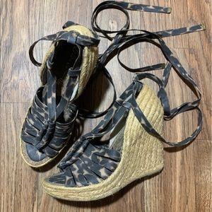 Sam Edelman Leopard Espadrille Wedge Sandals 8M